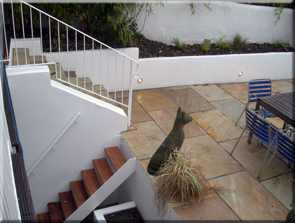lowered garden and paving in Brighton